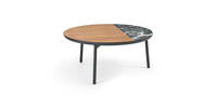 Chord Coffee Table - Black Texture, Walnut & Onyx Quartz Inserts