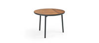 Chord Side Table - Black Texture, Walnut Inserts