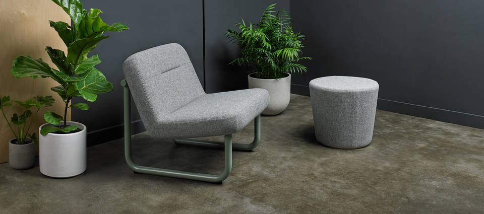 Chroma Collection Setting - Lounge Armless, Ottoman - Sage Green Matte