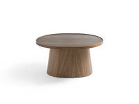 Penna Large Obround Table - Clear Over Walnut