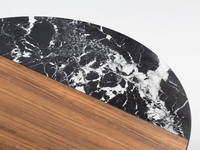 Chord Coffee Table - Clear over Walnut, Black Quartz