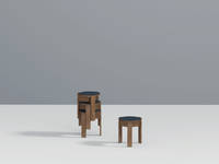 Kino Stool - Single & 3-Stack, Walnut