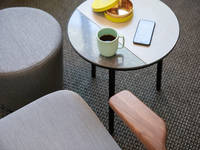 Chroma Lounge, Ottoman & Chord Side Table - Café